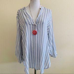 Lush Nordstrom XXL Top Blue White Stripe Cotton